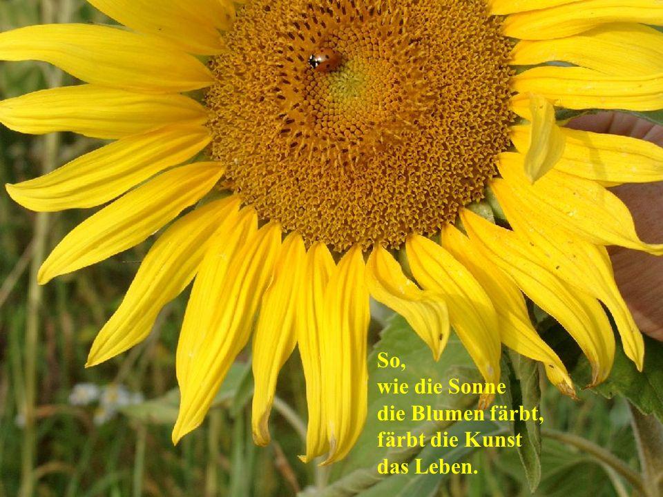 So, wie die Sonne die Blumen färbt, färbt die Kunst das Leben.