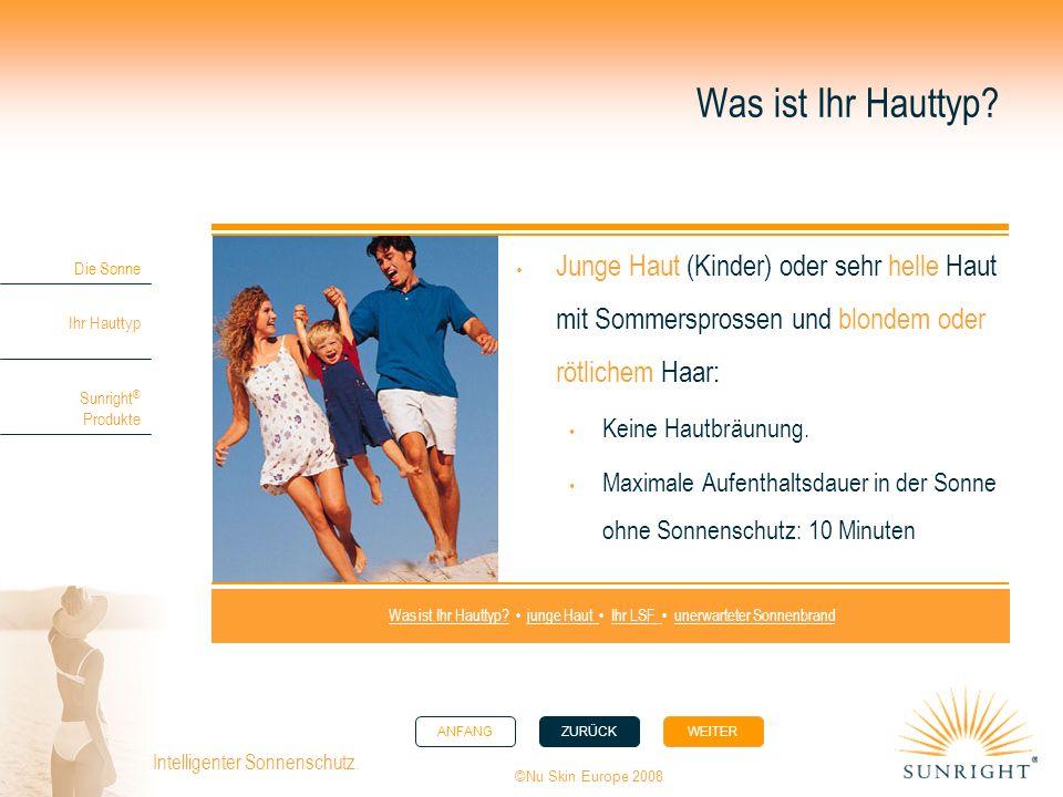 ANFANGZURÜCK WEITER Die Sonne Ihr Hauttyp Sunright ® Produkte ©Nu Skin Europe 2008 Intelligenter Sonnenschutz. Was ist Ihr Hauttyp? Junge Haut (Kinder