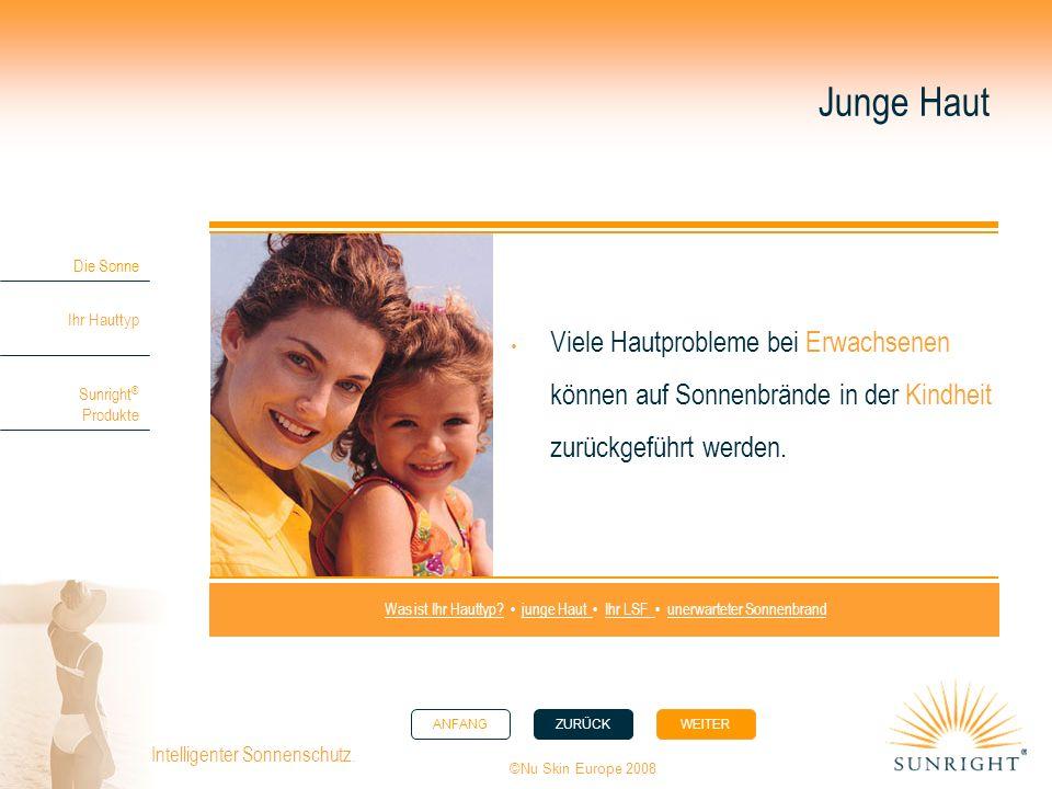 ANFANGZURÜCK WEITER Die Sonne Ihr Hauttyp Sunright ® Produkte ©Nu Skin Europe 2008 Intelligenter Sonnenschutz. Junge Haut Viele Hautprobleme bei Erwac