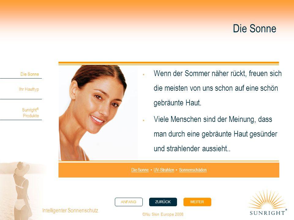 ANFANGZURÜCK WEITER Die Sonne Ihr Hauttyp Sunright ® Produkte ©Nu Skin Europe 2008 Intelligenter Sonnenschutz. Die Sonne Wenn der Sommer näher rückt,