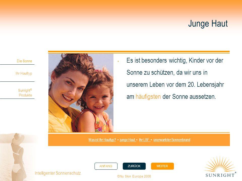ANFANGZURÜCK WEITER Die Sonne Ihr Hauttyp Sunright ® Produkte ©Nu Skin Europe 2008 Intelligenter Sonnenschutz. Junge Haut Es ist besonders wichtig, Ki