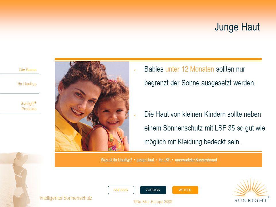 ANFANGZURÜCK WEITER Die Sonne Ihr Hauttyp Sunright ® Produkte ©Nu Skin Europe 2008 Intelligenter Sonnenschutz. Junge Haut Babies unter 12 Monaten soll