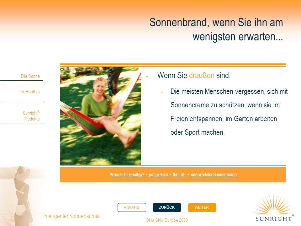 ANFANGZURÜCK WEITER Die Sonne Ihr Hauttyp Sunright ® Produkte ©Nu Skin Europe 2008 Intelligenter Sonnenschutz. Sonnenbrand, wenn Sie ihn am wenigsten
