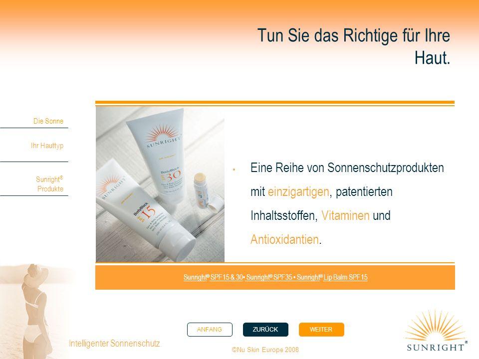 ANFANGZURÜCK WEITER Die Sonne Ihr Hauttyp Sunright ® Produkte ©Nu Skin Europe 2008 Intelligenter Sonnenschutz. Tun Sie das Richtige für Ihre Haut. Ein
