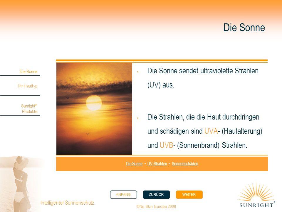 ANFANGZURÜCK WEITER Die Sonne Ihr Hauttyp Sunright ® Produkte ©Nu Skin Europe 2008 Intelligenter Sonnenschutz. Die Sonne Die Sonne sendet ultraviolett