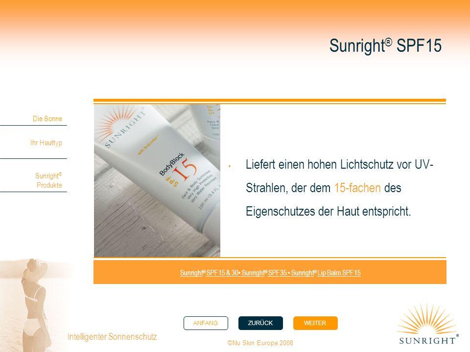 ANFANGZURÜCK WEITER Die Sonne Ihr Hauttyp Sunright ® Produkte ©Nu Skin Europe 2008 Intelligenter Sonnenschutz. Sunright ® SPF15 Liefert einen hohen Li
