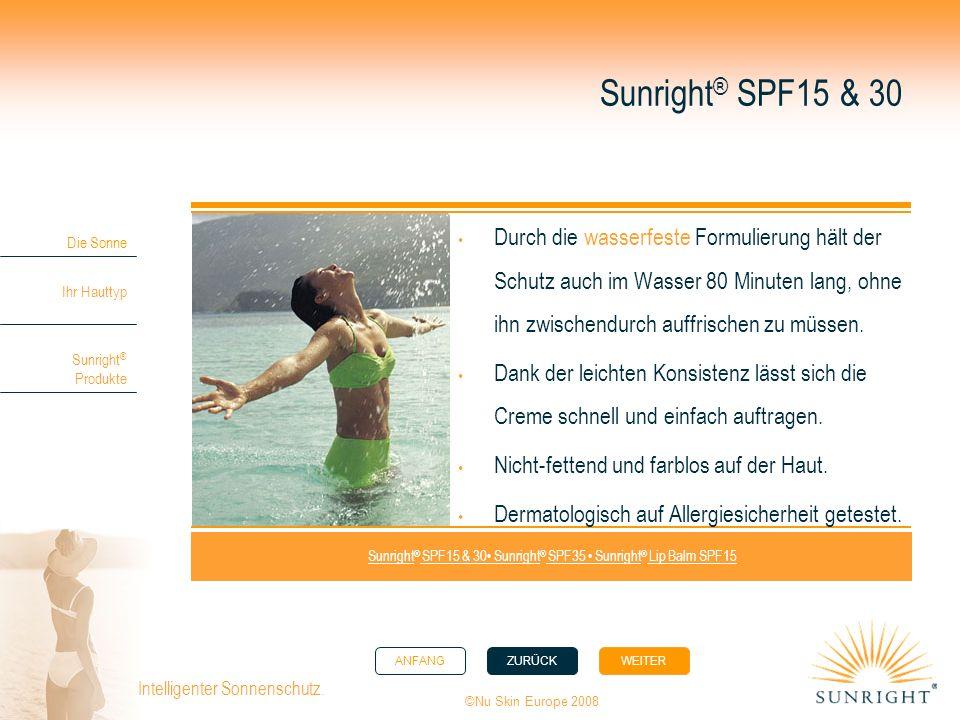 ANFANGZURÜCK WEITER Die Sonne Ihr Hauttyp Sunright ® Produkte ©Nu Skin Europe 2008 Intelligenter Sonnenschutz. Durch die wasserfeste Formulierung hält