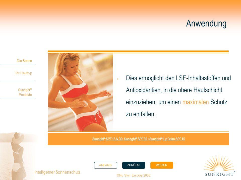 ANFANGZURÜCK WEITER Die Sonne Ihr Hauttyp Sunright ® Produkte ©Nu Skin Europe 2008 Intelligenter Sonnenschutz. Anwendung Dies ermöglicht den LSF-Inhal