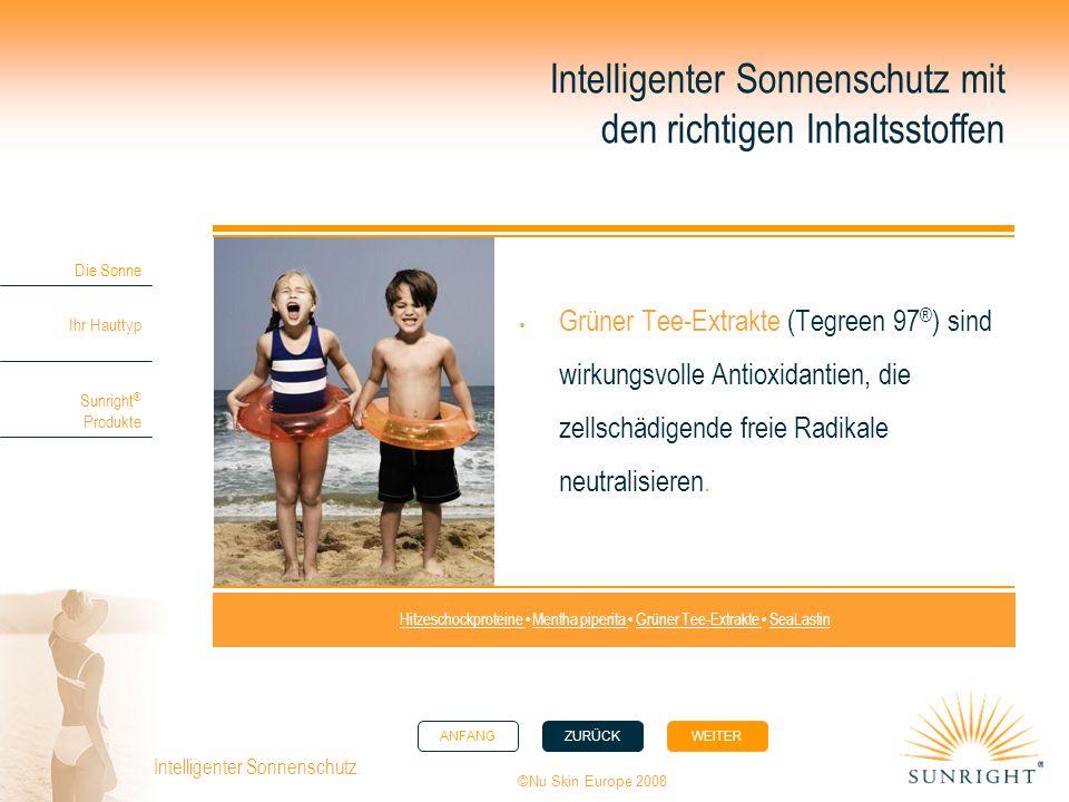 ANFANGZURÜCK WEITER Die Sonne Ihr Hauttyp Sunright ® Produkte ©Nu Skin Europe 2008 Intelligenter Sonnenschutz. Intelligenter Sonnenschutz mit den rich