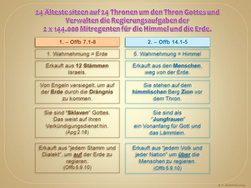 1. – Offb 7.1-8 2. – Offb 14.1-5 1. Wahrnehmung = Erde 5. Wahrnehmung = Himmel Erkauft aus 12 Stämmen Israels. Erkauft aus den Menschen, weg von der E