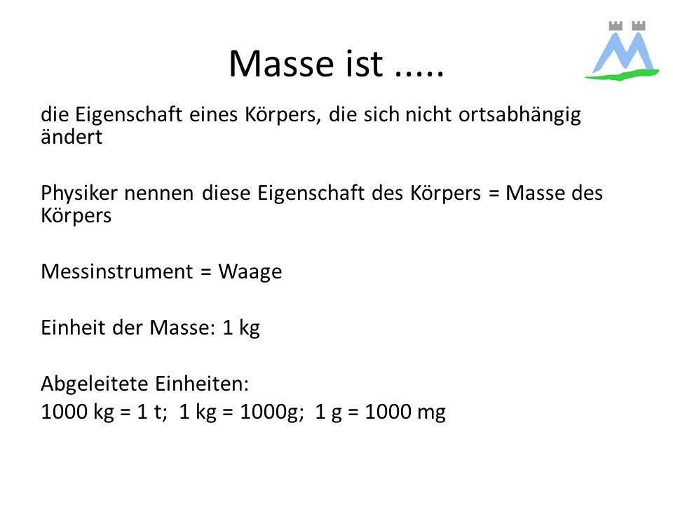 Masse ist..... die Eigenschaft eines Körpers, die sich nicht ortsabhängig ändert Physiker nennen diese Eigenschaft des Körpers = Masse des Körpers Mes