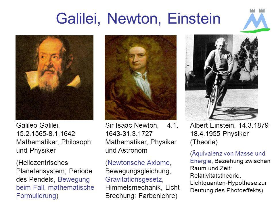 Galilei, Newton, Einstein Sir Isaac Newton, 4.1.