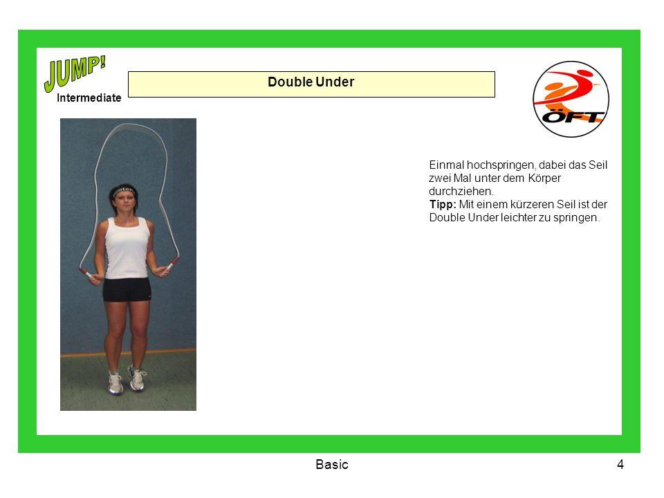 Basic4 Double Under Einmal hochspringen, dabei das Seil zwei Mal unter dem Körper durchziehen. Tipp: Mit einem kürzeren Seil ist der Double Under leic