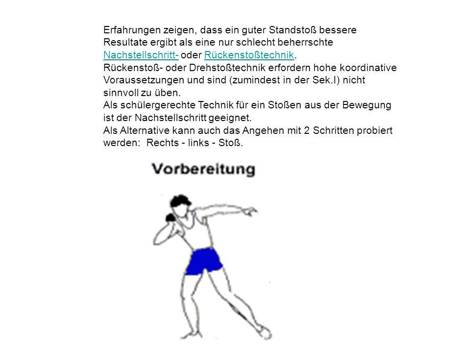 Bewegungselemente des Standstoßes Die Beachtung einer (erkennbaren) Verwringung zwischen Schulter- und Beckenachse ist ein wichtiger Technikaspekt, der ein Treffen der Kugel und eine Körperstreckung ermöglicht.
