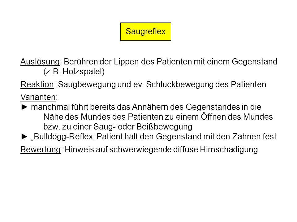 Saugreflex Auslösung: Berühren der Lippen des Patienten mit einem Gegenstand (z.B. Holzspatel) Reaktion: Saugbewegung und ev. Schluckbewegung des Pati