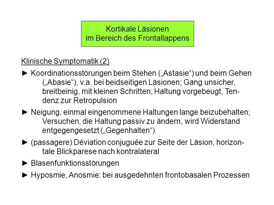Kortikale Läsionen im Bereich des Frontallappens Klinische Symptomatik (2) Koordinationsstörungen beim Stehen (Astasie) und beim Gehen (Abasie), v.a.
