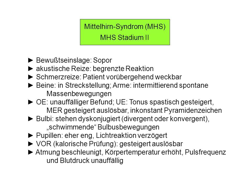 Mittelhirn-Syndrom (MHS) MHS Stadium II Bewußtseinslage: Sopor akustische Reize: begrenzte Reaktion Schmerzreize: Patient vorübergehend weckbar Beine: