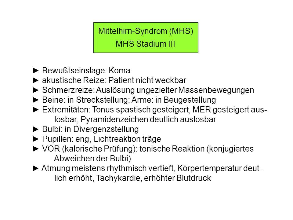 Mittelhirn-Syndrom (MHS) MHS Stadium III Bewußtseinslage: Koma akustische Reize: Patient nicht weckbar Schmerzreize: Auslösung ungezielter Massenbeweg