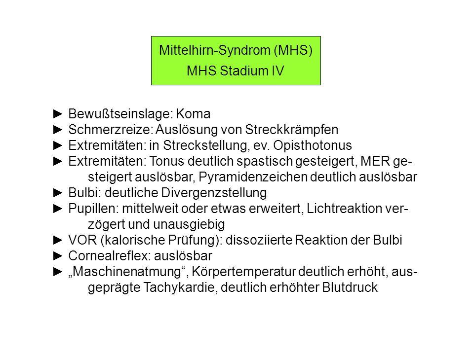 Mittelhirn-Syndrom (MHS) MHS Stadium IV Bewußtseinslage: Koma Schmerzreize: Auslösung von Streckkrämpfen Extremitäten: in Streckstellung, ev. Opisthot