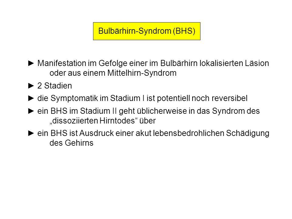 Bulbärhirn-Syndrom (BHS) Manifestation im Gefolge einer im Bulbärhirn lokalisierten Läsion oder aus einem Mittelhirn-Syndrom 2 Stadien die Symptomatik