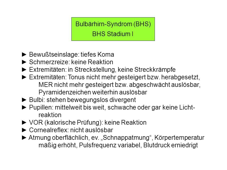 Bulbärhirn-Syndrom (BHS) BHS Stadium I Bewußtseinslage: tiefes Koma Schmerzreize: keine Reaktion Extremitäten: in Streckstellung, keine Streckkrämpfe
