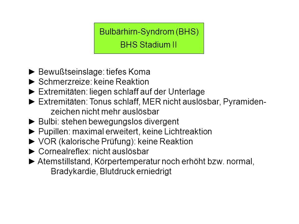 Bulbärhirn-Syndrom (BHS) BHS Stadium II Bewußtseinslage: tiefes Koma Schmerzreize: keine Reaktion Extremitäten: liegen schlaff auf der Unterlage Extre