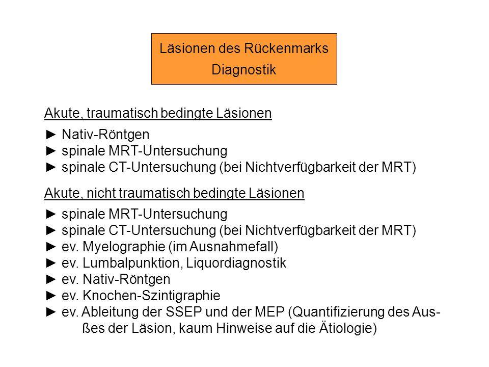 Läsionen des Rückenmarks Diagnostik Akute, traumatisch bedingte Läsionen Nativ-Röntgen spinale MRT-Untersuchung spinale CT-Untersuchung (bei Nichtverf