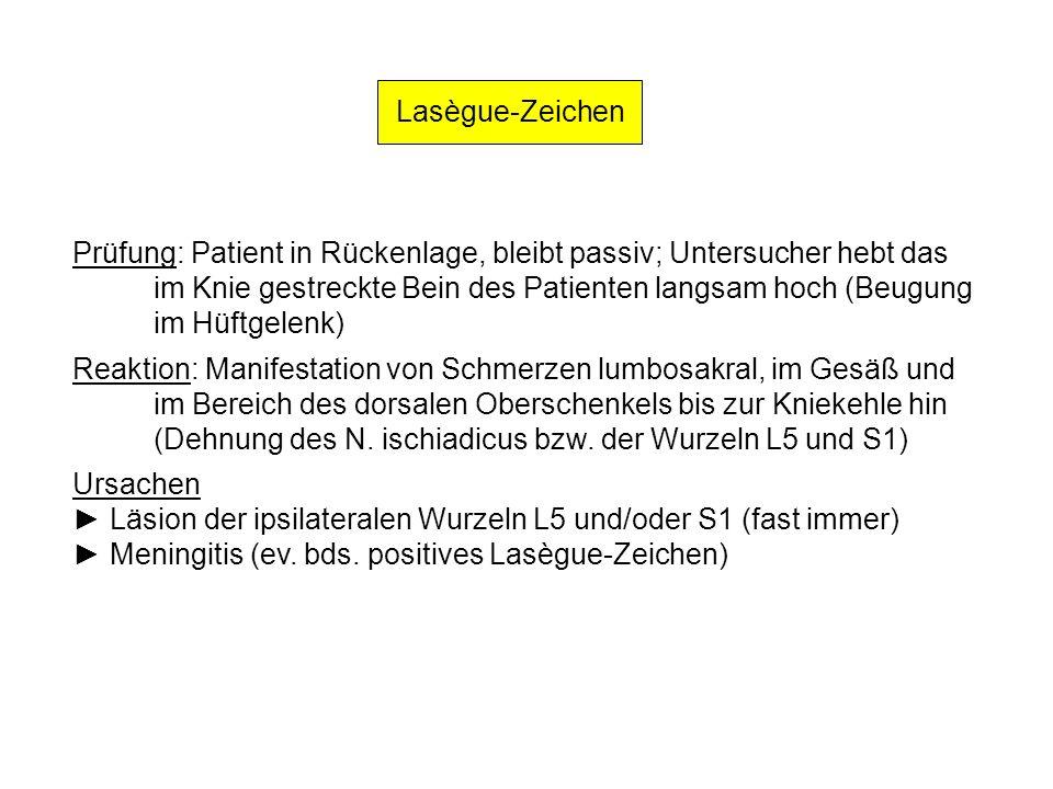 Lasègue-Zeichen Prüfung: Patient in Rückenlage, bleibt passiv; Untersucher hebt das im Knie gestreckte Bein des Patienten langsam hoch (Beugung im Hüf