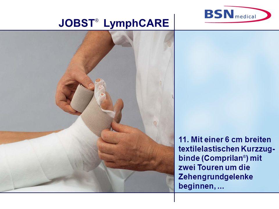 JOBST ® LymphCARE 11. Mit einer 6 cm breiten textilelastischen Kurzzug- binde (Comprilan ® ) mit zwei Touren um die Zehengrundgelenke beginnen,...