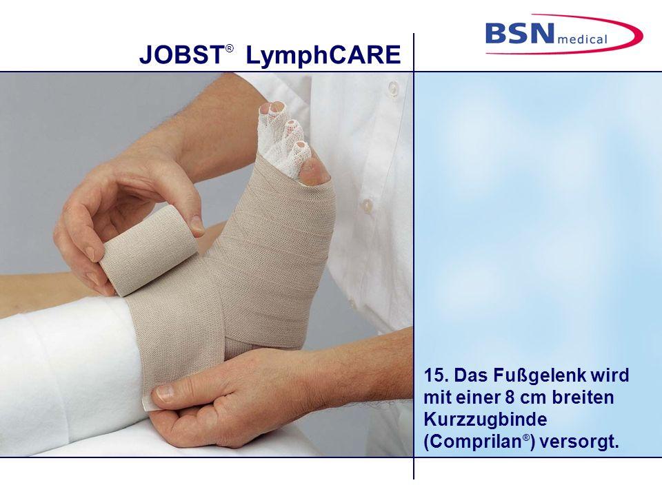 JOBST ® LymphCARE 15. Das Fußgelenk wird mit einer 8 cm breiten Kurzzugbinde (Comprilan ® ) versorgt.