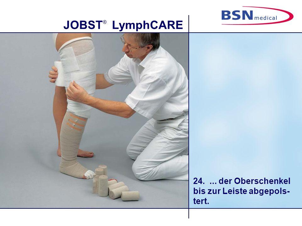 JOBST ® LymphCARE 25.Die Kniekehle wird mit Schaumstoff (z.B.
