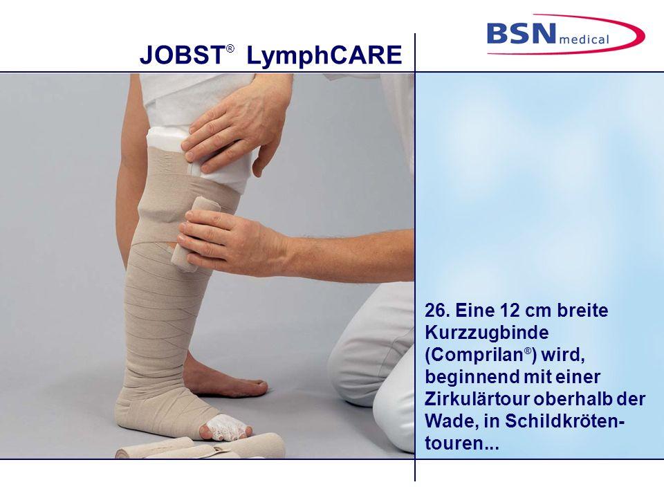 JOBST ® LymphCARE 27....dicht überlappend um das Knie angelegt.