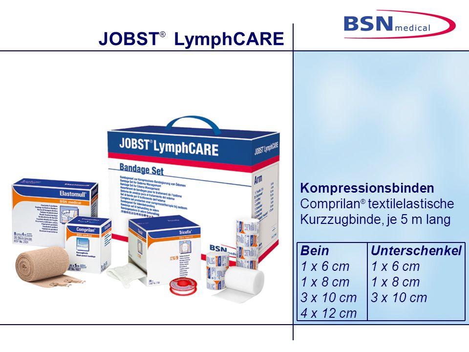 JOBST ® LymphCARE Kompressionsbinden Comprilan ® textilelastische Kurzzugbinde, je 5 m lang BeinUnterschenkel1 x 6 cm1 x 8 cm3 x 10 cm 4 x 12 cm