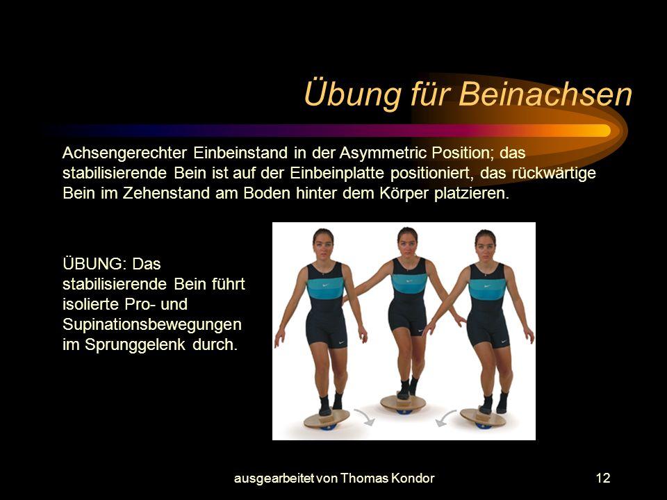 ausgearbeitet von Thomas Kondor12 Übung für Beinachsen ÜBUNG: Das stabilisierende Bein führt isolierte Pro- und Supinationsbewegungen im Sprunggelenk