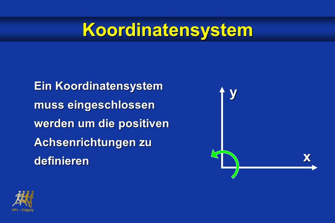 Koordinatensystem Ein Koordinatensystem muss eingeschlossen werden um die positiven Achsenrichtungen zu definieren x y