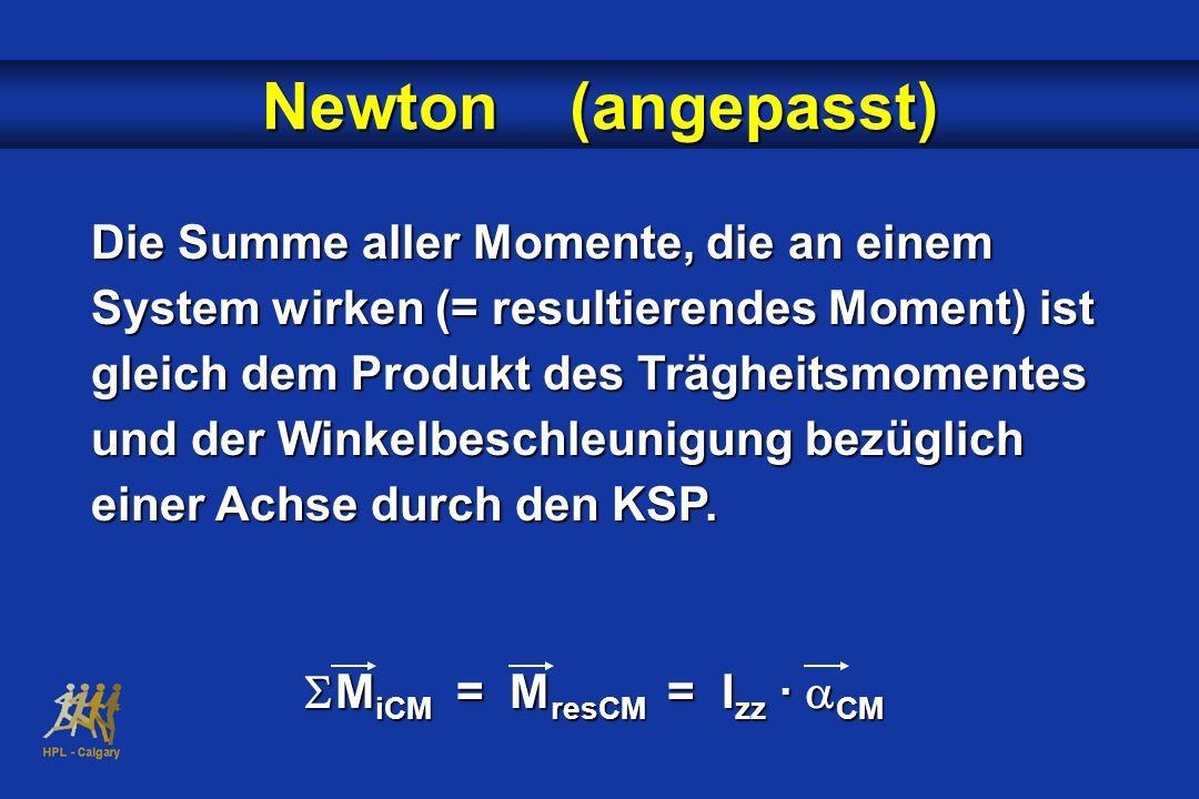 Die Summe aller Momente, die an einem System wirken (= resultierendes Moment) ist gleich dem Produkt des Trägheitsmomentes und der Winkelbeschleunigun