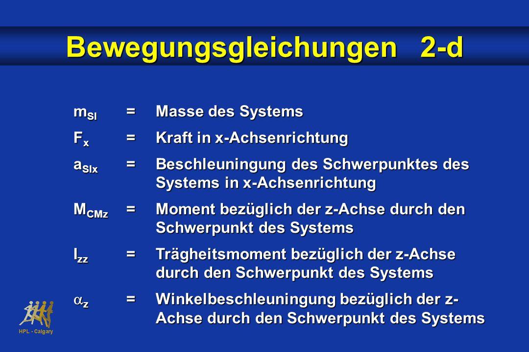 m SI =Masse des Systems F x =Kraft in x-Achsenrichtung a SIx =Beschleuningung des Schwerpunktes des Systems in x-Achsenrichtung M CMz =Moment bezüglic