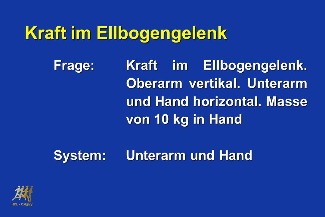 Kraft im Ellbogengelenk Frage:Kraft im Ellbogengelenk. Oberarm vertikal. Unterarm und Hand horizontal. Masse von 10 kg in Hand System:Unterarm und Han