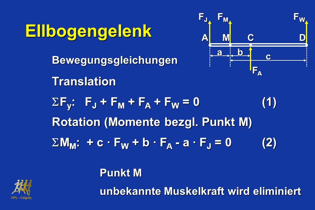 Translation Rotation (Momente bezgl. Punkt M) M M : + c · F W + b · F A - a · F J = 0(2) M M : + c · F W + b · F A - a · F J = 0(2) FJFJFJFJ FMFMFMFM