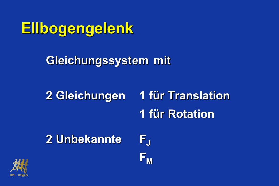 Ellbogengelenk Gleichungssystem mit 2 Gleichungen1 für Translation 1 für Rotation 2 UnbekannteF J F M