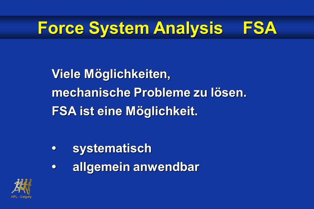 Viele Möglichkeiten, mechanische Probleme zu lösen. FSA ist eine Möglichkeit. systematischsystematisch allgemein anwendbarallgemein anwendbar Force Sy