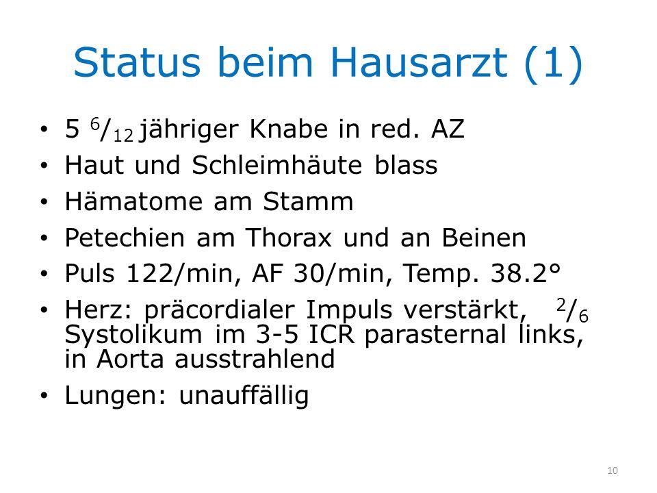 Status beim Hausarzt (1) 5 6 / 12 jähriger Knabe in red. AZ Haut und Schleimhäute blass Hämatome am Stamm Petechien am Thorax und an Beinen Puls 122/m