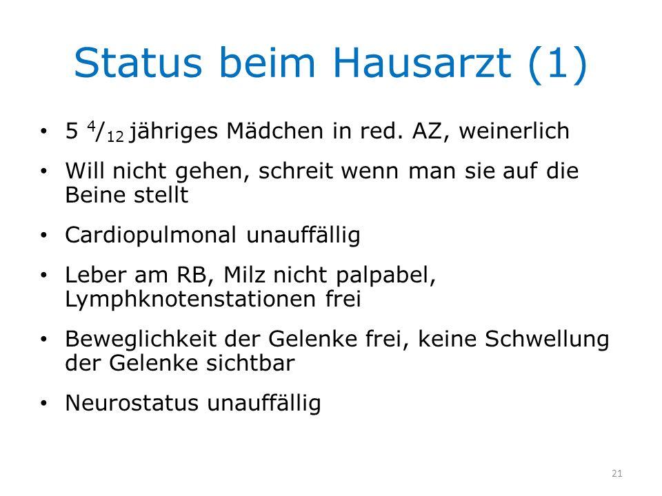 Status beim Hausarzt (1) 5 4 / 12 jähriges Mädchen in red. AZ, weinerlich Will nicht gehen, schreit wenn man sie auf die Beine stellt Cardiopulmonal u