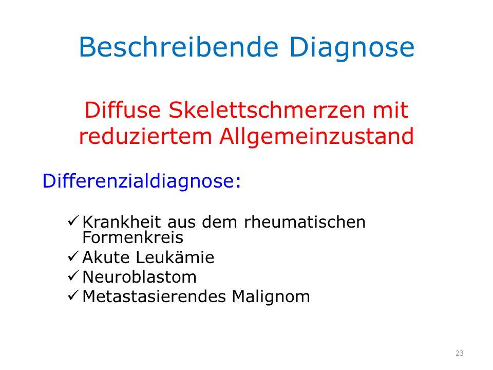 Beschreibende Diagnose Diffuse Skelettschmerzen mit reduziertem Allgemeinzustand Differenzialdiagnose: Krankheit aus dem rheumatischen Formenkreis Aku