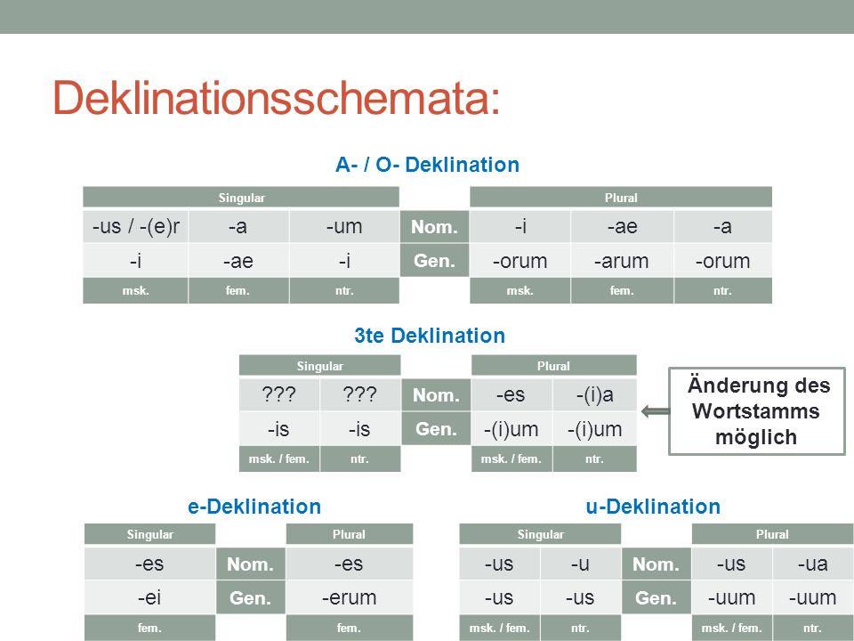 Deklinationsschemata: A- / O- Deklination 3te Deklination e-Deklination u-Deklination SingularPlural -us / -(e)r-a-um Nom. -i-ae-a -i-ae-i Gen. -orum-