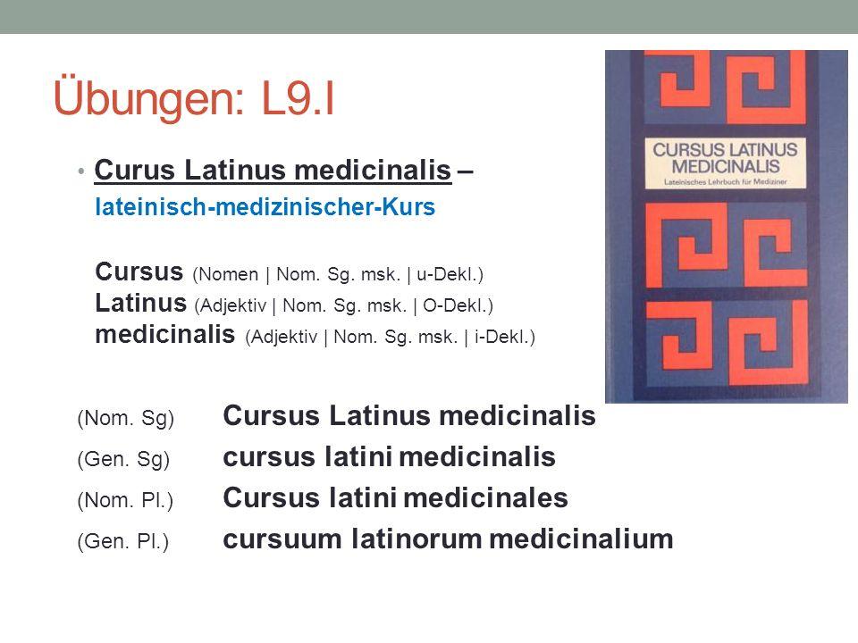 Übungen: L9.I Curus Latinus medicinalis – lateinisch-medizinischer-Kurs Cursus (Nomen | Nom. Sg. msk. | u-Dekl.) Latinus (Adjektiv | Nom. Sg. msk. | O