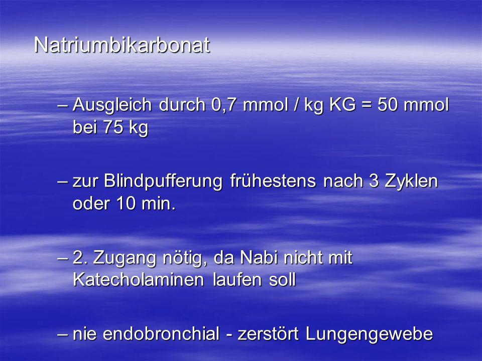 Natriumbikarbonat –Ausgleich durch 0,7 mmol / kg KG = 50 mmol bei 75 kg –zur Blindpufferung frühestens nach 3 Zyklen oder 10 min. –2. Zugang nötig, da