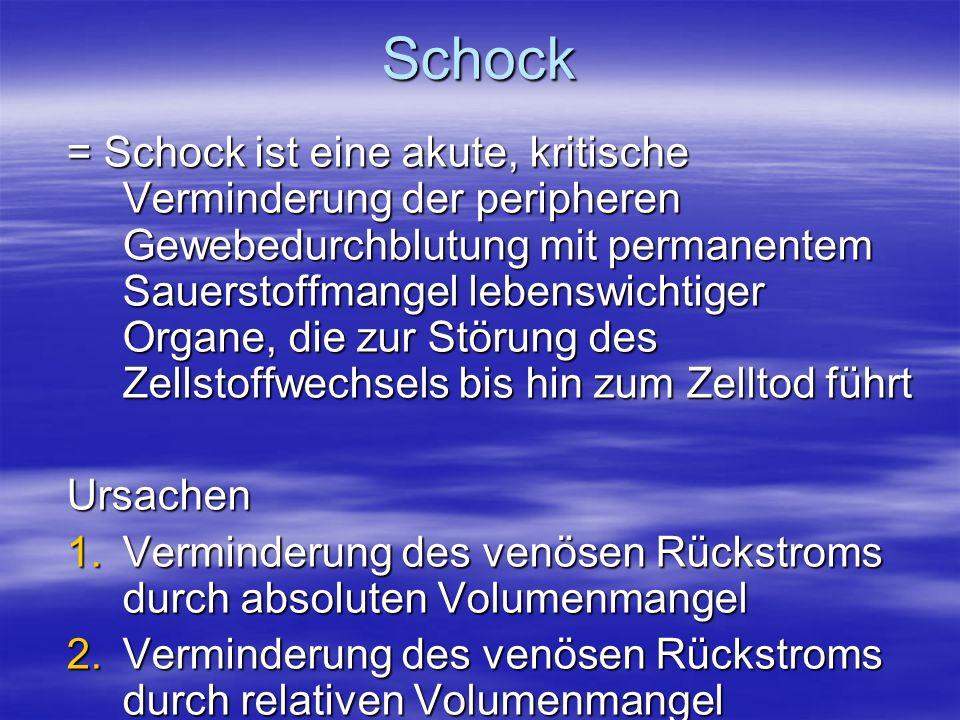 Schock = Schock ist eine akute, kritische Verminderung der peripheren Gewebedurchblutung mit permanentem Sauerstoffmangel lebenswichtiger Organe, die