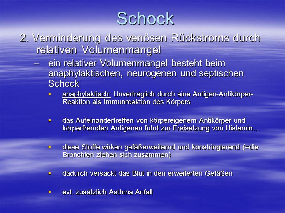 Schock 2. Verminderung des venösen Rückstroms durch relativen Volumenmangel –ein relativer Volumenmangel besteht beim anaphylaktischen, neurogenen und