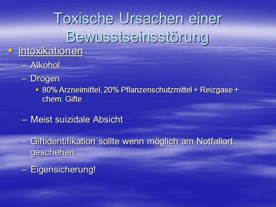 Toxische Ursachen einer Bewusstseinsstörung Intoxikationen Intoxikationen –Alkohol –Drogen 80% Arzneimittel, 20% Pflanzenschutzmittel + Reizgase + che